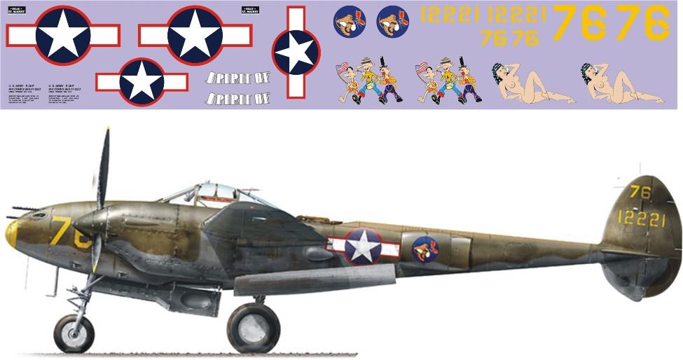"""Декаль Lockheed P-38 """"Lightning"""" (F182)-76 Image"""