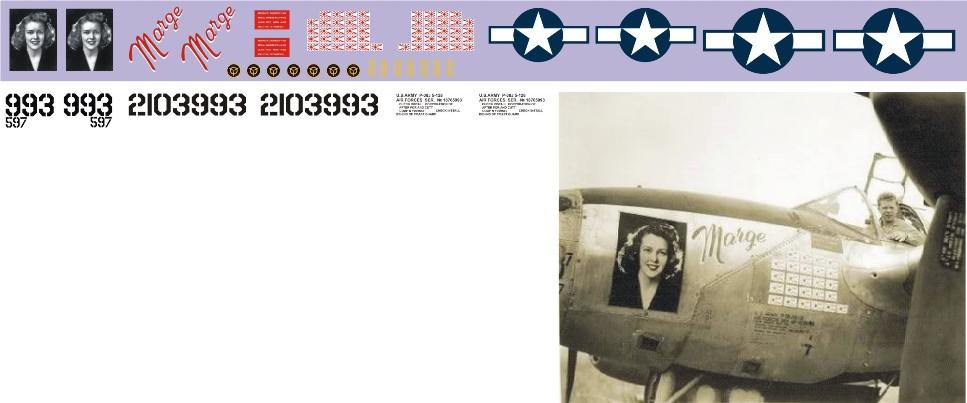 """Декаль Lockheed P-38 """"Lightning"""" (F182)-Bong Image"""
