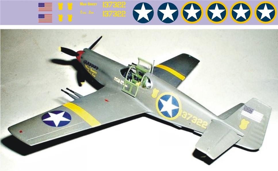 "Декаль Republic P-51B ""Mustang"" (F196)-Man Image"
