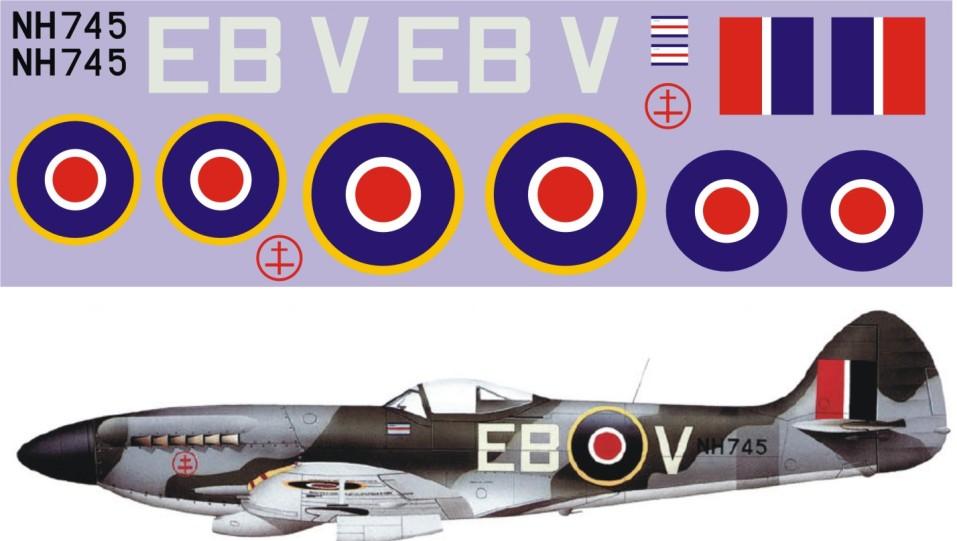 "Декаль Supermarine ""Spitfire"" Mk.XIV-NH745 Image"