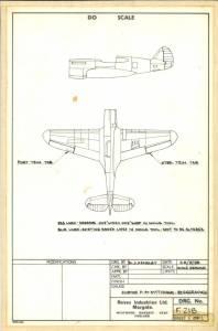 "Curtiss P-40E ""Kittyhawk"" - сканированный лист чертежа для переделки раскроя"